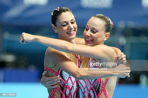 Linda Cerruti and Costanza Ferro of Italy react after ccompeting in the Women's Duet Free Synchronised Swimming Preliminary on day four of the 16th...