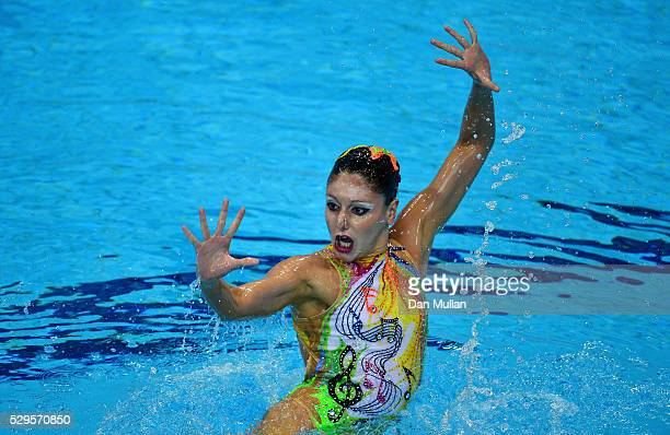 Linda Cerruti of Italy competes during the Synchronised Swimming Solo Preliminary Round on Day One of the 2016 LEN European Swimming Championships on...