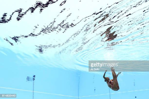 Linda Cerruti of Italy competes during the Womens Synchro Solo Technical final on day two of the Budapest 2017 FINA World Championships on July 15...