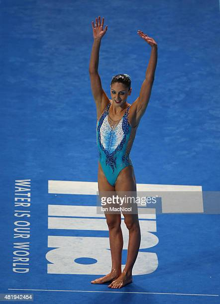 Linda Cerruti of Italy competes in the Solo Technical Syncronised swimming final during day one the16th Fina World Aquatics Championships at the...