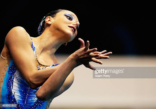 Linda Cerruti of Italy performs her routine during the Womens Solo Synchronised Swimming Competition at EuropaSportpark on August 13 2014 in Berlin...