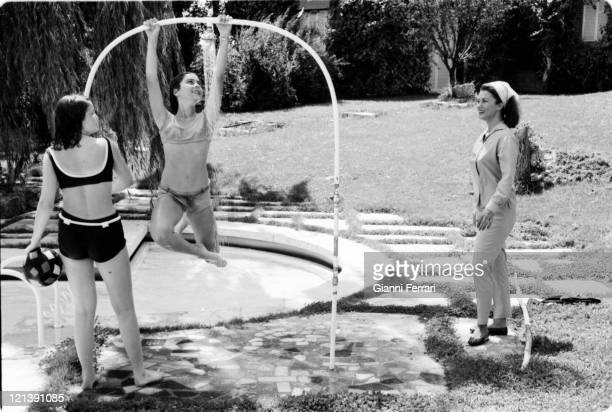Linda Christian her villa of 'La Moraleja' with her daughter Romina and a friend 12th August 1964 Madrid Spain