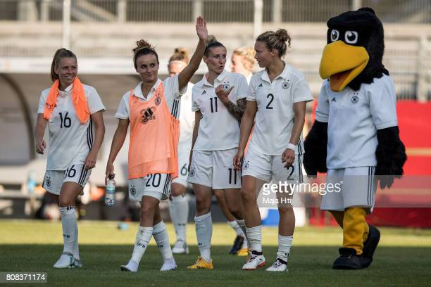 Linda Dallmann Lina Magull Anja Mittag and Josephine Henning of Germany celebrate after the Women's International Friendly match between Germany and...