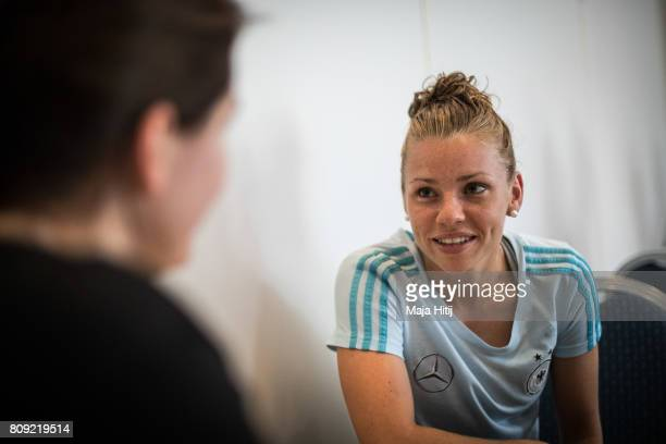 Linda Dallmann listens during a interview at Germany Women's National Soccer Team Media Day on July 5 2017 in Heidelberg Germany