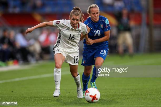 Linda Dallmann of Germany and Valentina Cernoia of Italy battle for the ball during the UEFA Women's Euro 2017 at Koning Willem II Stadium on July 21...