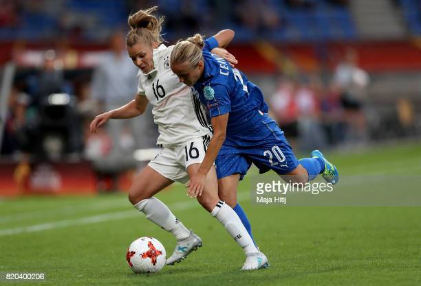 Linda Dallmann of Germany and Valentina Cernoia of Italy compete for the ball during the Group B match between Germany and Italy during the UEFA...