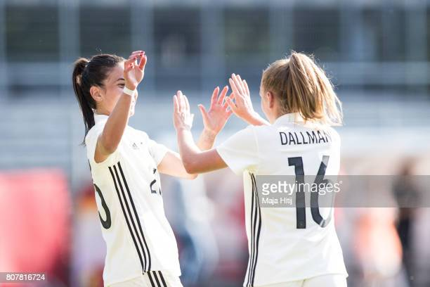 Linda Dallmann of Germany celebrates with Hasret Kayikci after scoring a goal to make it 10 during the Women's International Friendly match between...