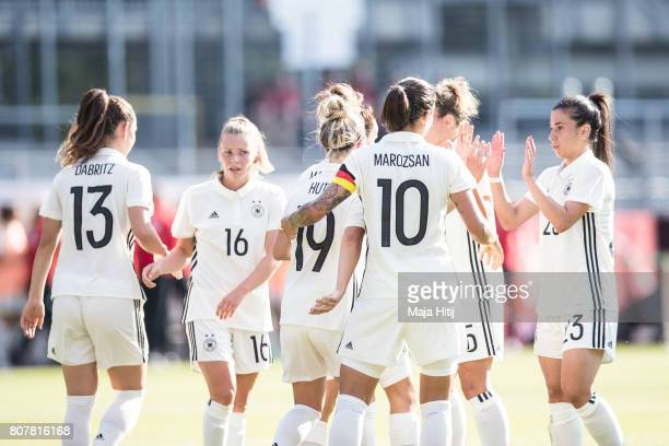 Linda Dallmann of Germany celebrates with her team after scoring a goal to make it 10 during the Women's International Friendly match between Germany...