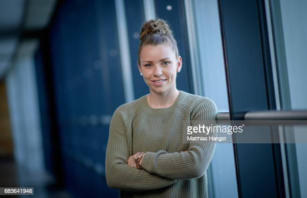 Linda Dallmann of Germany poses for a portrait during the DFB Ladies Marketing Day at Commerzbank Arena on April 3 2017 in Frankfurt am Main Germany