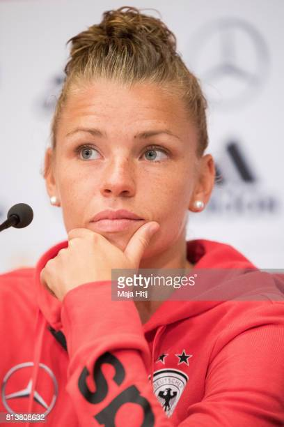 'SHERTOGENBOSCH NETHERLANDS JULY 13 Linda Dallmann of Germany Women's Team looks on during a press conference on July 13 2017 in 'sHertogenbosch...
