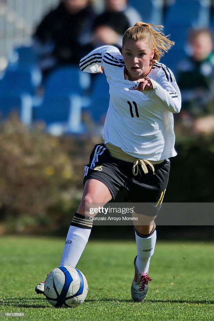 Linda Dallmann of U19 Germany controls the ball during the Women's U19 Tournament match between U19 Norway and U19 Germany at La Manga Club ground G on March 11, 2013 in La Manga, Spain.