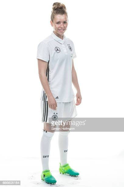 Linda Dallmann poses during the DFB Ladies Marketing Day on April 4 2017 in Frankfurt am Main Germany