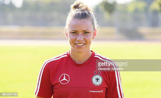 Linda Dallmann poses during the Germany Women's team presentation on September 13 2016 in Frankfurt am Main Germany