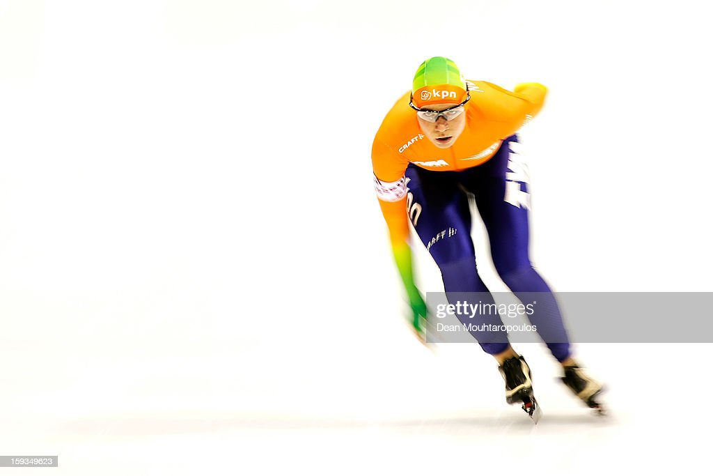 Linda de Vries of Netherlands competes in the 3000m Ladies race during the Essent ISU European Speed Skating Championships 2013 at Thialf Stadium on January 12, 2013 in Heerenveen, Netherlands.