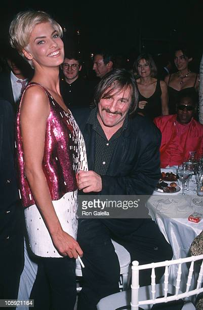 Linda Evangelista and Gerard DePardieu during '7th On Sale' To Benefit AIDS Research November 29 1990 at 69th Regiment Armory in New York City New...