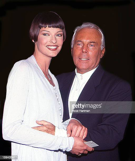 Linda Evangelista and Giorgio Armani at the Armani fashion party on West 57th street New York New York 1997