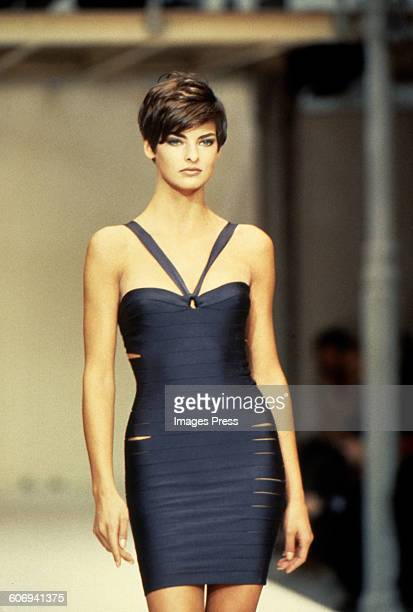 Linda Evangelista at the Azzedine Alaia Spring 1990 show circa 1989 in Paris France