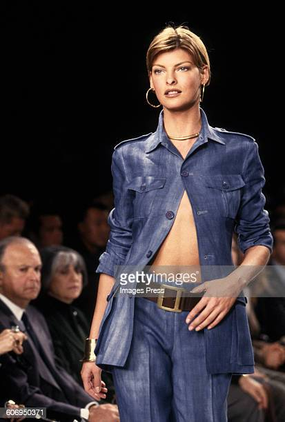 Linda Evangelista at the Ralph Lauren Spring 1997 show circa 1996 in New York City