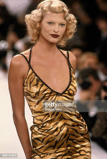 Linda Evangelista at the Todd Oldham Spring 1995 show circa 1994 in New York City