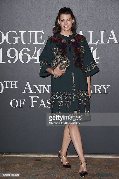 Linda Evangelista attends Vogue Italia 50th Anniversary Event on September 21 2014 in Milan Italy