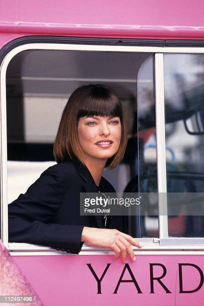 Linda Evangelista during Linda Evangelista Yardley promotion at London in London Great Britain