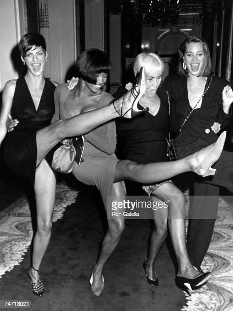 Linda Evangelista Naomi Campbell Polly Mellon and Christy Turlington at the The Plaza Hotel in New York City New York