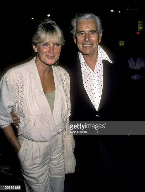 Linda Evans and John Forsythe during Linda Evans and John Forsythe Sighting at Spago in Hollywood August 24 1984 at Spago in West Hollywood...