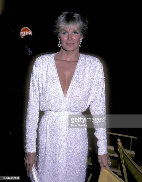 Linda Evans during Film Set of Miniseries 'Bare Essence' at Tavern on the Green in New York City New York United States