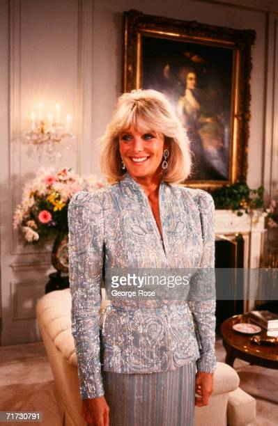 Linda Evans star of the hit TV series 'Dynasty' poses in the 'living room' during a 1987 Hollywood California photo portrait session