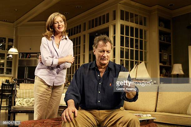 Linda Gehringer and John de Lancie perform during a scene from 'A Naked Girl on the Appian Way' The World premiere of Richard Greenberg's comedy...