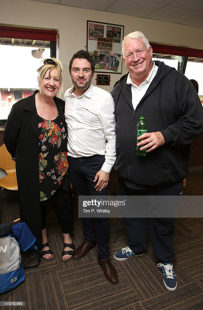 Linda Gilbey, George Gilbey and Pete McGarry attend a Charity football match in aid of St Joseph's Hospice and Haven House Children's Hospice at Leyton Orient Matchroom Stadium on May 17, 2015 in London, England.