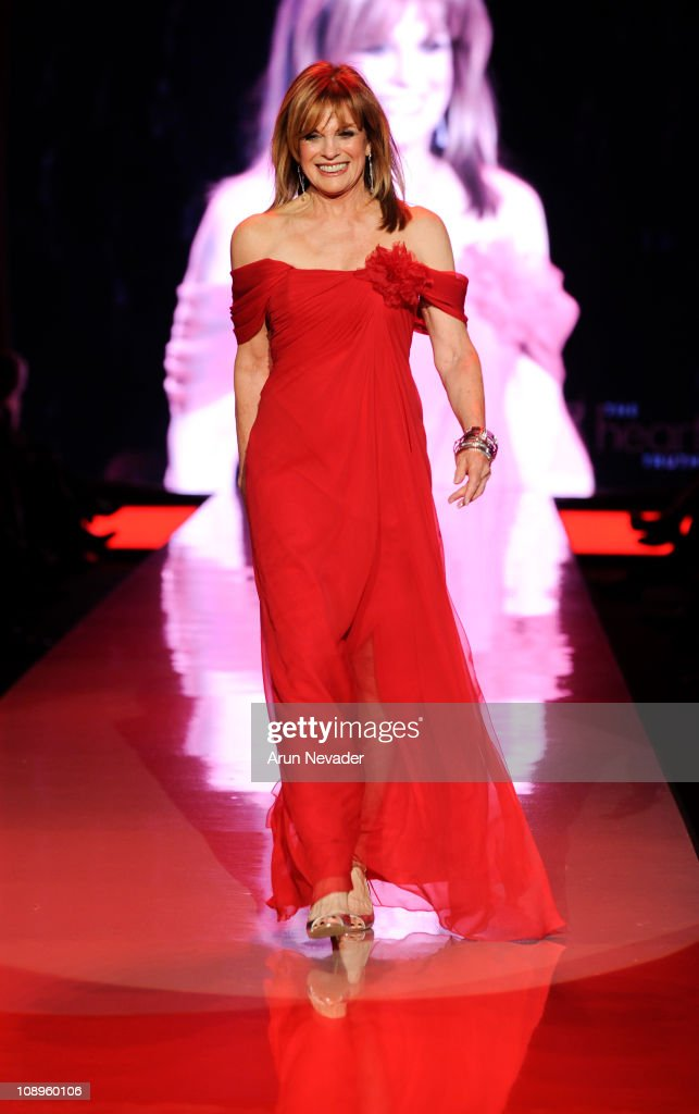 Linda Gray wearing Pamella Roland walks the runway at the Heart Truth Fall 2011 fashion show during Mercedes-Benz Fashion Week at The Theatre at Lincoln Center on February 9, 2011 in New York City.