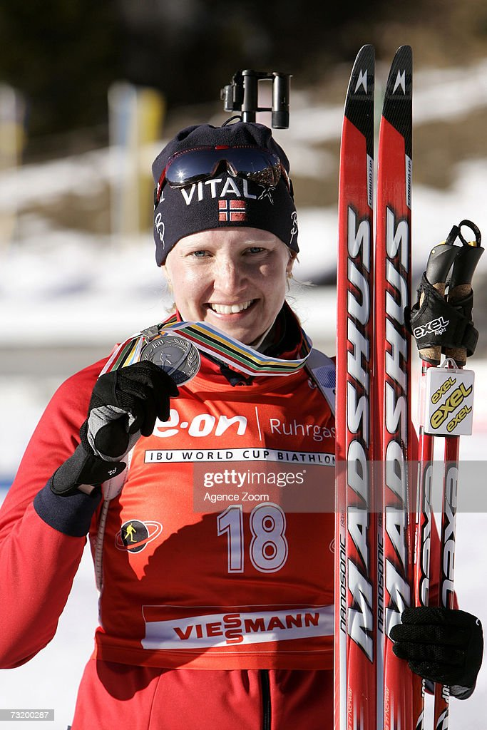 Linda Grubben of Norway poses after placing second in the IBU Biathlon World Championships Biathlon Ladies 10Km Pursuit event on February 4, 2007 in Antholz, Italy.