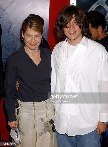 Linda Hamilton and son Dalton Abbott during 'Hellboy' Los Angeles Premiere Arrivals at Village Theatre in Westwood California United States