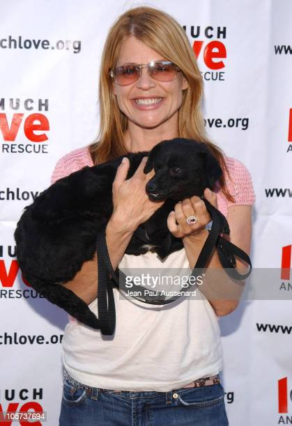 Linda Hamilton with Paula a dog up for adoption at Much Love Animal Rescue