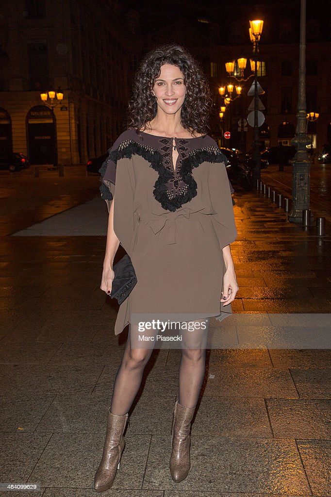 Linda Hardy arrives at the Alexis Mabille show as part of Paris Fashion Week Haute-Couture Spring/Summer 2014 on January 20, 2014 in Paris, France.