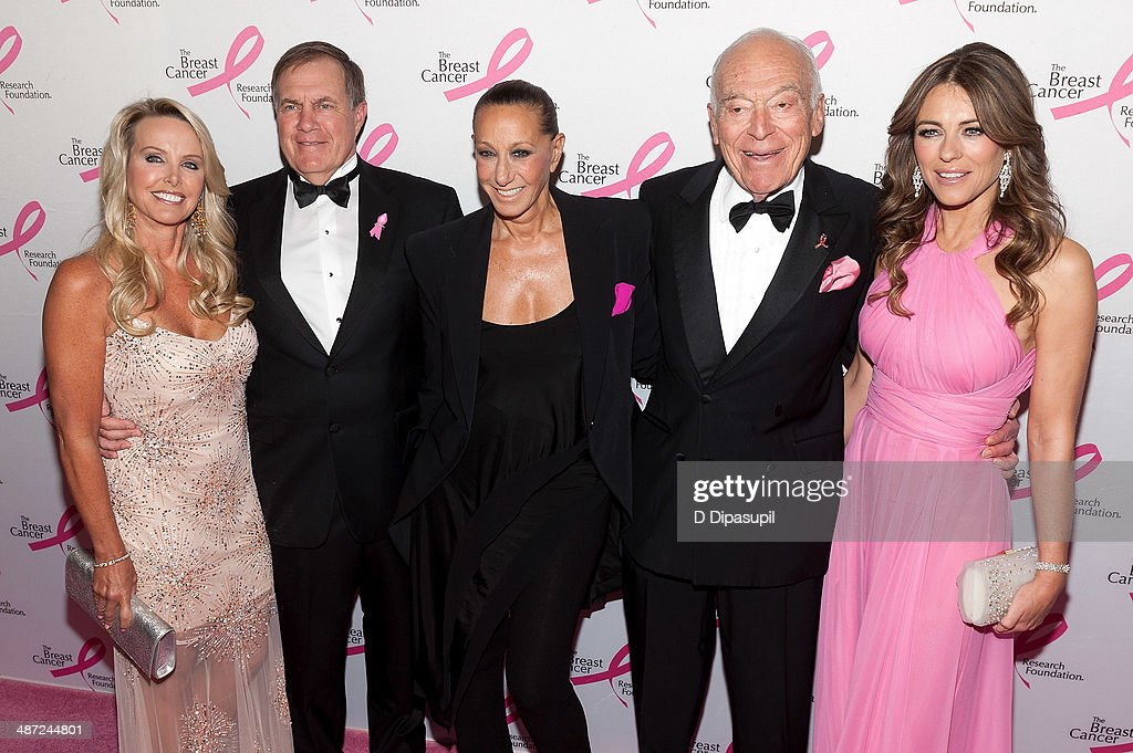 Linda Holliday, Bill Belichick, Donna Karan, Leonard A. Lauder, and Elizabeth Hurley attend The Breast Cancer Research Foundation 2014 Hot Pink Party at The Waldorf=Astoria on April 28, 2014 in New York City.