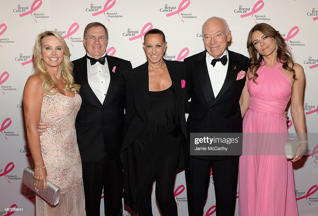 Linda Holliday, Bill Belichick, Donna Karan, Leonard Lauder and Elizabeth Hurley attend The Breast Cancer Foundation's 2014 Hot Pink Party at Waldorf Astoria Hotel on April 28, 2014 in New York City.