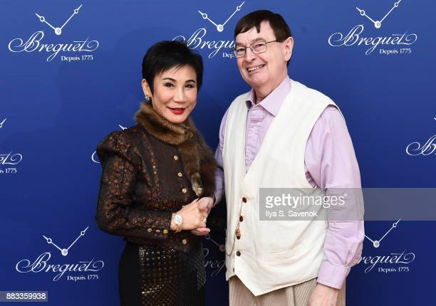 Linda Hong de Clef and Breguet watch owner David Newsom attend the debut of Breguet's new boutique on Fifth Avenue on November 30 2017 in New York...