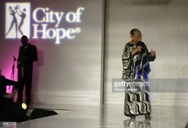 Linda Hopkins entertains the crowd after a fashion show displaying Serena Williams' 'Aneres' fashion line during the WTA Tour Charities Show Gala on...