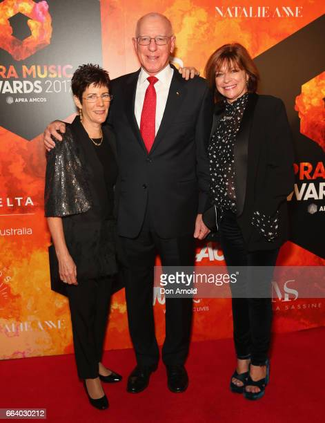 Linda Hurley David Hurley and Jenny Morris arrive ahead of the 2017 APRA Music Awards on April 3 2017 in Sydney Australia