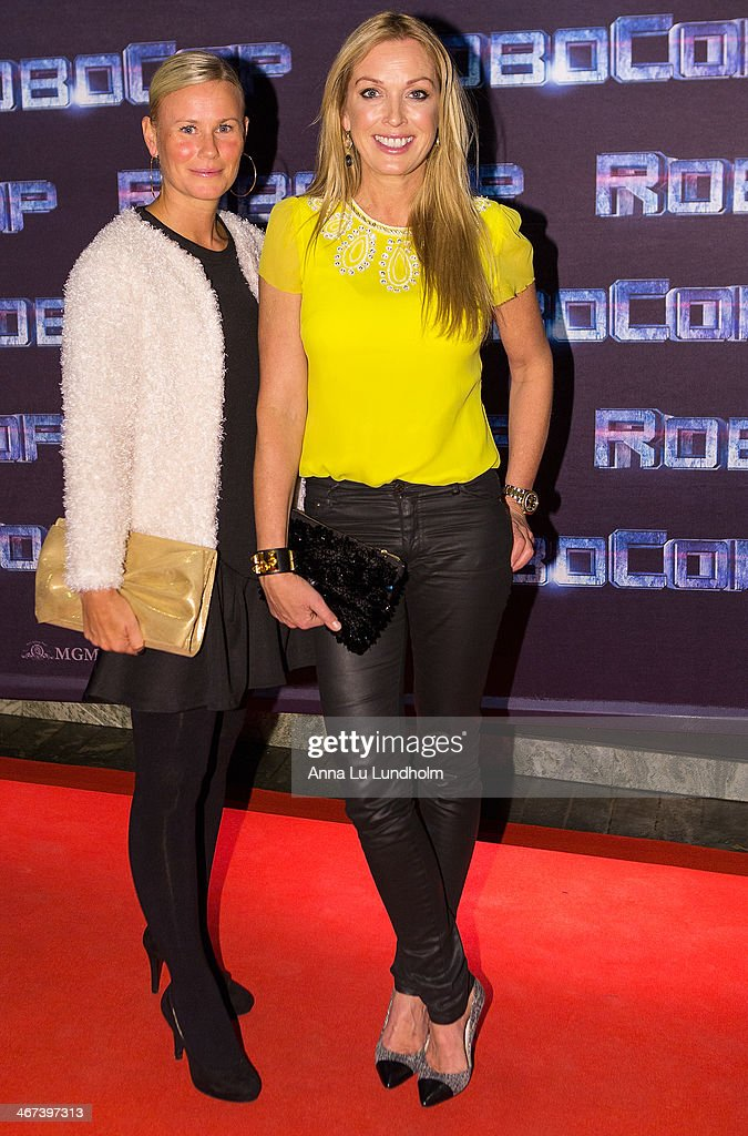 Linda Isacsson Lindorff (R) with friend attends the Stockholm premiere of 'Robocop' at Rigoletto on February 6, 2014 in Stockholm, Sweden.