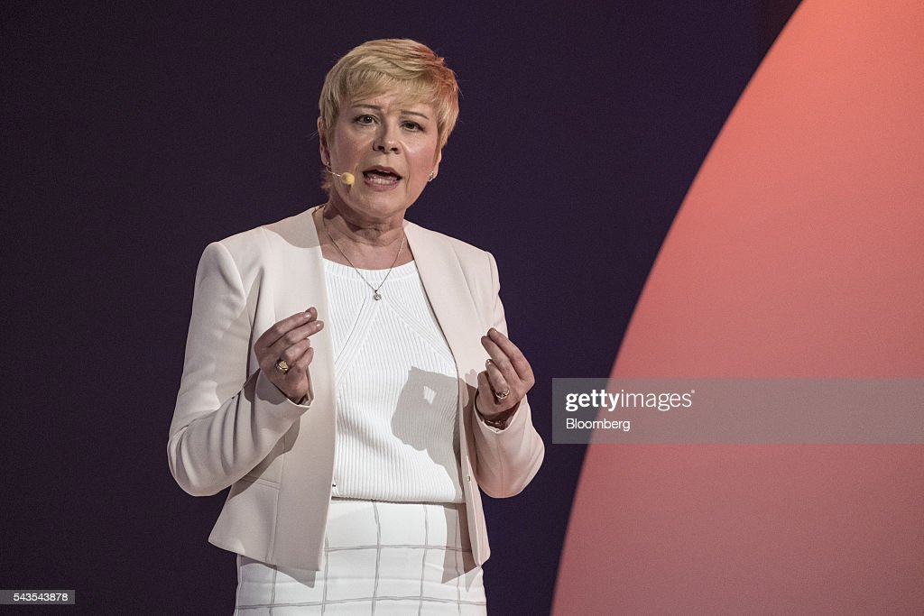 Linda Jackson, chief executive officer of Citroen, a unit of PSA Peugeot Citroen, speaks as Citroen unveil a new version of the C3 automobile in Lyon, France, on Wednesday, June 29, 2016. The biggest test of Citroen's revival will be a new version of the C3 hatchback, traditionally the brand's top-selling model. Photographer: Balint Porneczi/Bloomberg via Getty Images