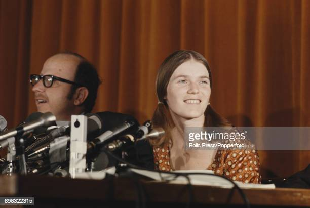 Linda Kasabian star witness in the Sharon Tate and LaBianca murder trial pictured at a press conference in Los Angeles United States after being...