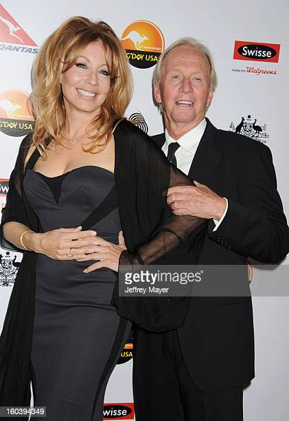 Linda Kozlowski and Paul Hogan attend the 2013 G'Day USA Black Tie Gala at JW Marriott Los Angeles at LA LIVE on January 12 2013 in Los Angeles...