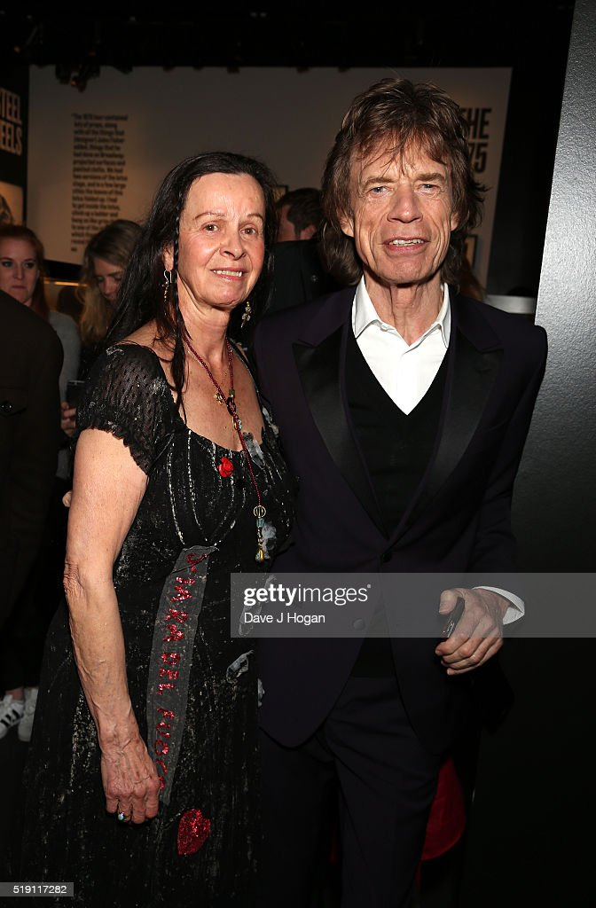 Linda Lawrence (L) and Mick Jagger attend an after party for 'The Rolling Stones: Exhibitionism' Saatchi Gallery on April 4, 2016 in London, England.