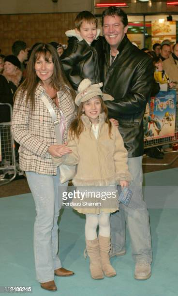 Linda Lusardi Sam Kane and family during 'Robots' London Premiere Outside Arrivals at Vue Leicester Square in London Great Britain