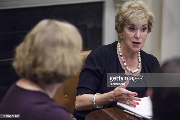 Linda McMahon administrator of the Small Business Administration speaks during a meeting with military spouses in the Roosevelt Room of the White...