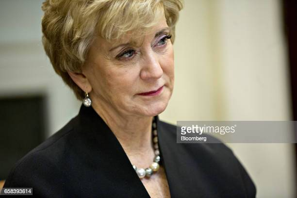 Linda McMahon administrator of the Small Business Administration listens while meeting with US President Donald Trump not pictured and women small...