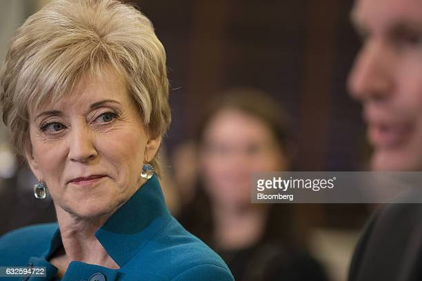 Linda McMahon Small Business Administration administrator nominee for US President Donald Trump listens as Senator Christopher Murphy a Democrat from...